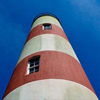 Lighthouse, deep blue skies