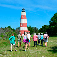Lighthouse with people
