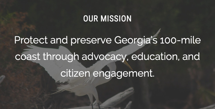 Our Mission: Protect and preserve Georgia's 100-mile coast through advocacy, education, and citizen engagement.